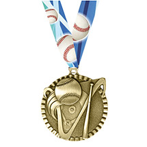 "Baseball Medal - 2"" Baseball Victorious Medal with Ribbon"