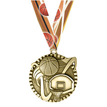 Basketball Victorious Medal with Ribbon