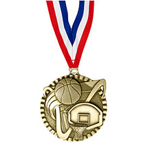 "2"" Basketball Victorious Medal with Ribbon"