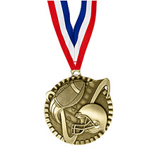 "2"" Football Victorious Medal with Ribbon"