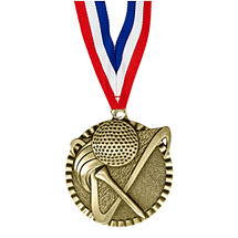 "2"" Golf Victorious Medal with Ribbon"