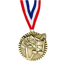"2"" Music Victorious Medal with Ribbon"