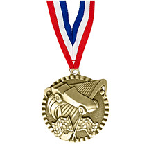 "2"" Pinewood Derby Victorious Medal with Ribbon"