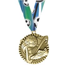 Soccer Medal - Soccer Victorious Medal with Ribbon