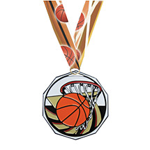 Basketball Decagon Medal with Ribbon