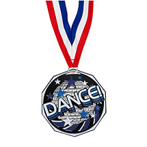 "Dance Medal - 1 7/8"" Dance Decagon Medal with Ribbon"