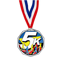"1 7/8"" Five K Decagon Medal with Ribbon"