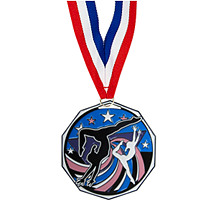 "1 7/8"" Female Gymnastics Decagon Medal with Ribbon"