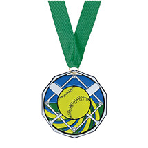 Softball Medal - Softball Decagon Medal