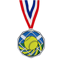 "Softball Medal - 1 7/8"" Softball Decagon Medal with Ribbon"