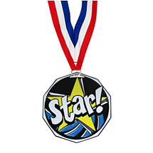 "1 7/8"" Star Decagon Medal with Ribbon"
