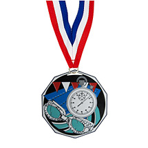 "1 7/8"" Swim Decagon Medal with Ribbon"