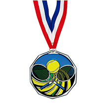 "1 7/8"" Tennis Decagon Medal with Ribbon"