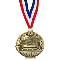 "2"" Social Studies Medal with 30 in. Neck Ribbon"