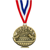 "2"" Spelling Bee Medal with 30 in. Neck Ribbon"
