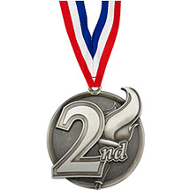 "2 1/4"" 2nd Place Medal with Ribbon"