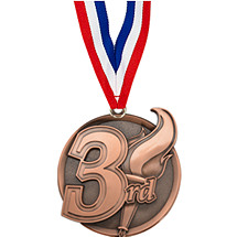 "2 1/4"" 3rd Place Medal with Ribbon"