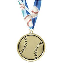 Baseball Medal - Cast Baseball Medals with Ribbon
