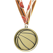 Basketball Medal - Cast Basketball Medals with Ribbon