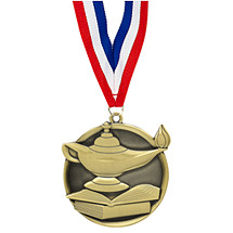Education Medal - Cast Lamp of Learning Medals with Ribbon
