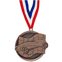"2 1/4"" Bronze Pinewood Derby Medal with Ribbon"
