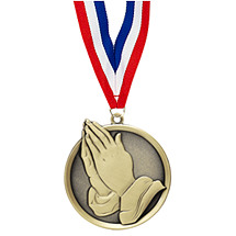 Praying Hands Medal - Cast Religious Medals with Ribbon