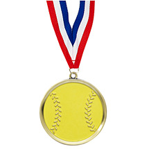 Softball Medal - Cast Softball Medals with Ribbon