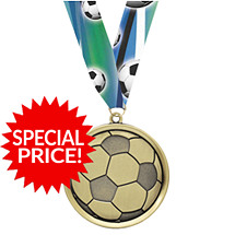 Soccer Medal - Cast Soccer Medals with Ribbon