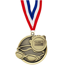 Swim Medal - Cast Swimming Medals with Ribbon
