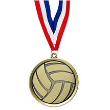 Volleyball Medal - Cast Volleyball Medals with Ribbon