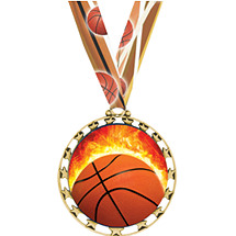Basketball Medal - Sports Star Series Medal with Neck Ribbon