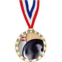 "Bowling Medal - 2 1/2"" Sports Star Series Medal with 30"" Neck Ribbon"