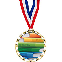 "Education Medal - 2 1/2"" Sports Star Series Medal with 30"" Neck Ribbon"