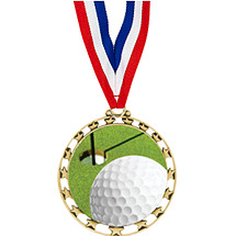 "Golf Medal - 2 1/2"" Sports Star Series Medal with 30"" Neck Ribbon"