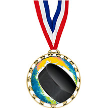 "Hockey Medal - 2 1/2"" Sports Star Series Medal with 30"" Neck Ribbon"