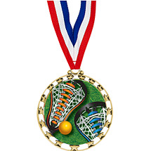 "Lacrosse Medal - 2 1/2"" Sports Star Series LX Medal with 30"" Neck Ribbon"