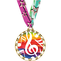 "Music Medal - 2 1/2"" Sports Star Series Medal with 30"" Neck Ribbon"