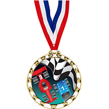 "Pinewood Derby Medal - 2 1/2"" Sports Star Series Medal with 30"" Neck Ribbon"