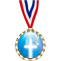 "Cross/Dove Medal - 2 1/2"" Star Series Medal with 30"" Neck Ribbon"