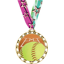 "Softball Medal - 2 1/2"" Sports Star Series Medal - Softball - with 30"" Neck Ribbon"