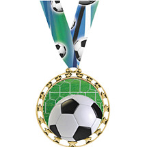 "Soccer Medal - 2 1/2"" Sports Star Series Soccer Medal with 30"" Neck Ribbon"