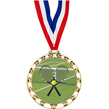 "Tennis Medal - 2 1/2"" Sports Star Series Medal with 30"" Neck Ribbon"