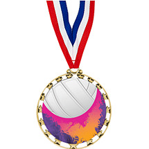 "Volleyball Medal - 2 1/2"" Sports Star Series Medal with 30"" Neck Ribbon"
