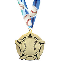 Baseball Medal - Baseball Star Medal with 30 in. Neck Ribbon