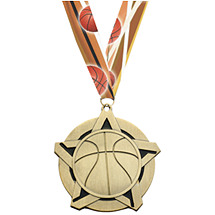 Basketball Medal - Basketball Star Medal with 30 in. Neck Ribbon