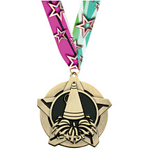Cheer Medal - Cheer Star Medal with 30 in. Neck Ribbon