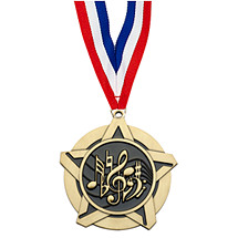 Music Academic Star Medal with Neck Ribbon