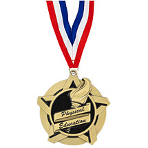 "2 1/4"" Physical Education Academic Star Medal with 30 in. Neck Ribbon"
