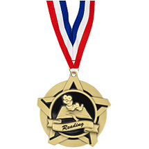 Reading Academic Star Medal with Free Neck Ribbon