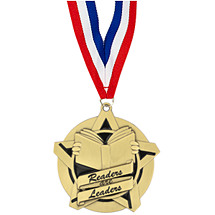 "2 1/4"" Readers are Leaders Academic Star Medal with 30 in. Neck Ribbon"